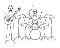 Musicus het spelen zwart-witte trommels en gitaar royalty-vrije illustratie