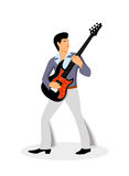 Musicus met een gitaar op een witte achtergrond royalty-vrije illustratie
