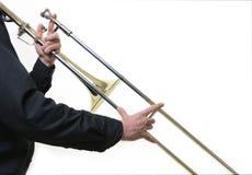 Musicus met een trombone royalty-vrije stock fotografie