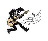 Musicus Player, Gitarist met Gitaar en Nota's stock illustratie