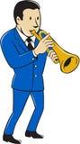 Musicus Playing Trumpet Cartoon stock illustratie