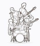 Musicus speelmuziek samen, de samenstelling van de Muziekband royalty-vrije illustratie