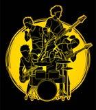 Musicus speelmuziek samen, grafische Muziekband stock illustratie
