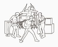 Musicus speelmuziek samen, Muziekband stock illustratie