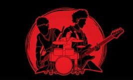 Musicus speelmuziek samen, Muziekband, Kunstenaar royalty-vrije illustratie