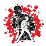 Musicus speelmuziek samen, Muziekband, Kunstenaar stock illustratie