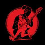 Musicus speelmuziek samen, Muziekband, Mensen die elektrische gitaar spelen vector illustratie