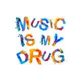 Musik är min drog royaltyfri illustrationer