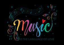 Musik är språket av förälskelsehandbokstäver royaltyfri illustrationer