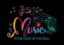 Musik är stämman av andahandbokstäver vektor illustrationer