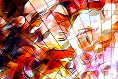 Musik-Anmerkung und Raum mit Sternen Feuerflammen und abstrakter Farbhintergrund Abbildung der elektrischen Gitarre Stockbild