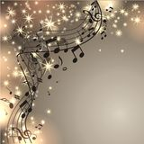 Musik background with notes. And stars Stock Image