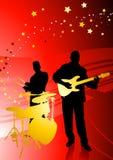 Musik-Band auf abstraktem rotem Hintergrund stock abbildung