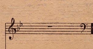 musik bemärker det gammala paper arket Royaltyfri Foto