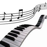 musik bemärker pianoskyen Royaltyfri Bild