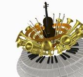 musik en fiol stock illustrationer