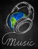Musik-Erdkopfhörer-Hintergrund stock abbildung