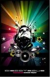 Musik-Ereignis-Hintergrund mit Diskjockey-Form f Stockfotos