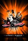 Musik-Ereignis-Hintergrund mit verrücktem DJ Stockbilder