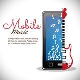musik för anmärkning för elektrisk gitarr för smartphone mobil stock illustrationer