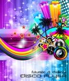 musik för reklamblad för disko för bakgrundsklubbadans Arkivfoto