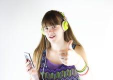 Musik för tummar upp till Royaltyfri Fotografi