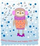 Musik för uggla för Ð-¡ ute lyssnande glad jul royaltyfri illustrationer