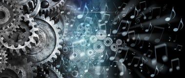 Musik förser med kuggar teknologibakgrund