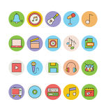 Musik farbige Vektor-Ikonen 4 Lizenzfreie Stockfotos