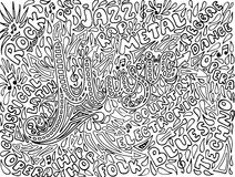 Musik-flüchtige Notizbuch-Gekritzel Von Hand gezeichnet Gesicht der illustration stock abbildung