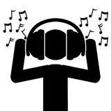 Musik från hörlurar Arkivbilder
