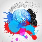 Musik-Hintergrund mit Discoball, Sprechern und Stellen - Vektor Lizenzfreie Stockfotos