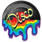 Musik i stilen av diskot, vinylrekord arkivbild