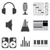 Musik-Ikonen und Vektorillustration Stockfoto