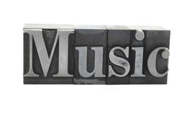 ?Musik? im alten Metalltypen Stockbilder