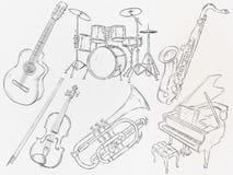 Musik-Instrument-Skizzen-Vektor-Satz lizenzfreie abbildung