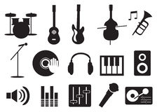 Musik-Instrument und Werkzeug-Ikonen Stockfotos