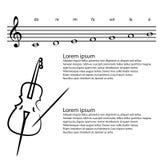 Musik, Kontrabass, abstrakter Violinschlüssel, merkt Vektorhintergrund Stockfotos