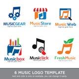Musik Logo Template Design Vector Royaltyfri Illustrationer
