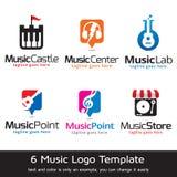 Musik Logo Template Design Vector Fotografering för Bildbyråer