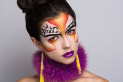 Musik make up art. Person beautiful woman listening songs. Painted face bright art make up bodyart faceart, lady young beautiful girl. Colorful music equalizer Royalty Free Stock Photos