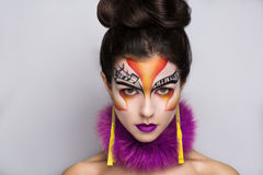 Musik make up art. Person beautiful woman listening songs. Painted face bright art make up bodyart faceart, lady young beautiful girl. Colorful music equalizer Stock Photo