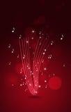 Musik merkt roten Hintergrund Stockbild