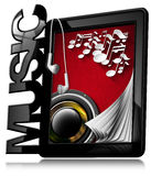 Musik - minnestavlaPC med hörlurar Arkivbild
