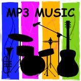 Musik Mp3, die Melody Listening And Sound Track zeigt Lizenzfreie Stockfotos