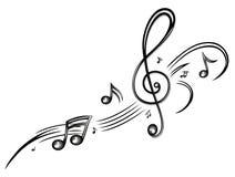 Musik musikanmärkningar, klav Arkivfoto
