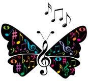 Musik noterar fjärilen Arkivbild