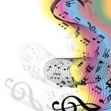 Musik noterar regnbågen Royaltyfri Bild