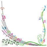 Musik noterar sammansättning, stilfull bakgrund för det musikaliska temat, vecto Royaltyfri Bild