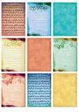 Musik och gammal uppsättning för collage för pappersbakgrundstappning av gammal antik imag för nio för kortetikettsmusik för anmä stock illustrationer